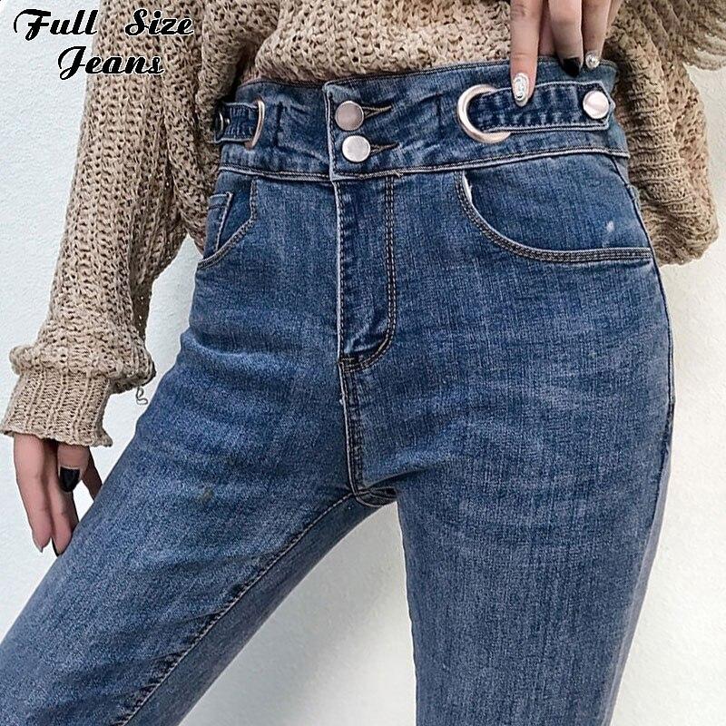 موضة الجينز النسائية عالية الخصر هامش تنحنح مربوط اضافية طويلة جينز رفيع 5XL 7xl حجم كبير المرأة عادية سليم صالح كامل