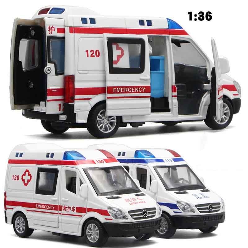 136 szpital ratownictwa policji zabawki modele samochodów dla dzieci 2020 Alloy pogotowia pojazdu dźwięk światła Diecast samochodów prezenty dla dzieci