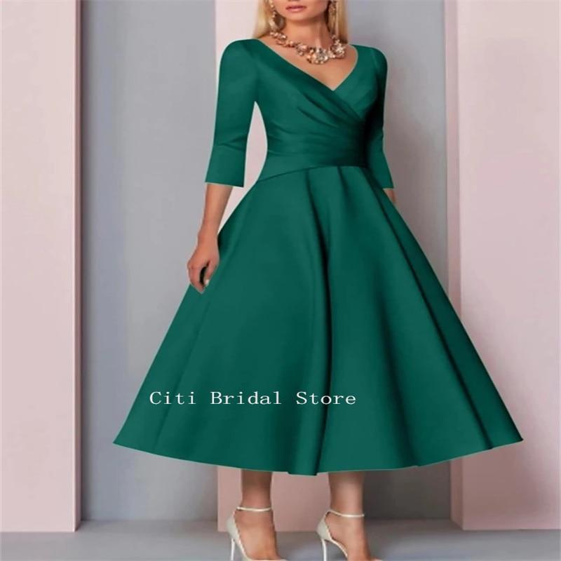 Vestidos de Noche verdes acampanados, longitud media pantorrilla, talla grande, madrina de...