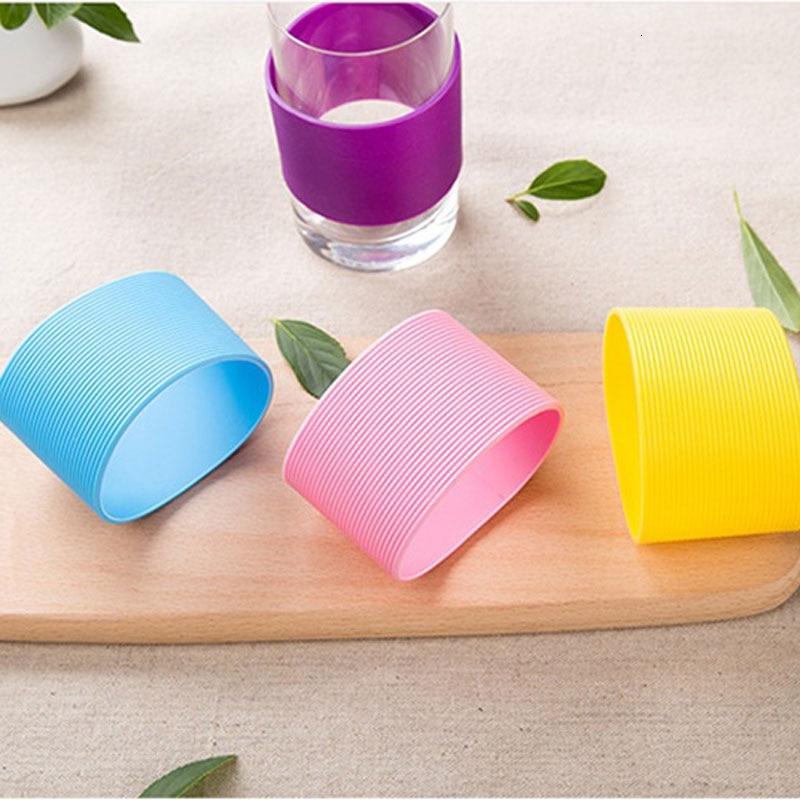 Красочные силиконовые термоизолированные чашки рукав полосы Нескользящие обертывания для кружек керамические стеклянные чашки рукав бут...