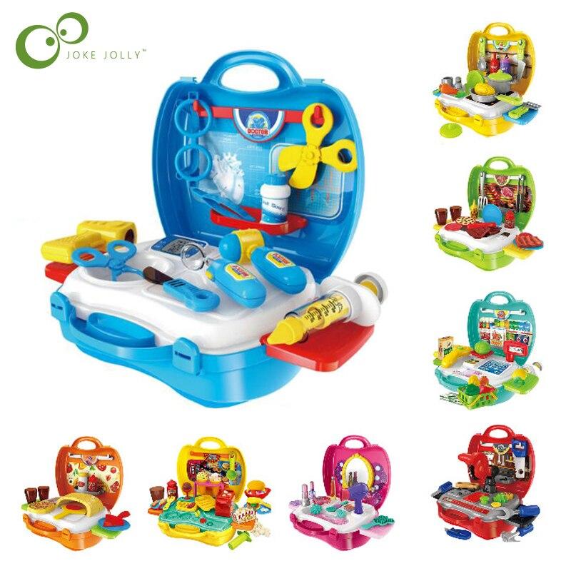 Juego de maletas para niños, Set de maquillaje médico de cocina, Juguetes para juego de diamantes de imitación para niñas y niños, Juguetes para juego de roles para niños GYH