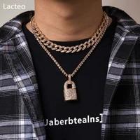 lacteo bohemian shining rhinestone clavicle chain choker necklace neo gothic big lock pendant necklace nightclub jewelry gifts