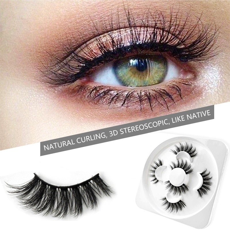 New 3D False Eyelashes Extension Full Volume Thick Eye Makeup Natural Long Wispies Fake Lashes 3 Pairs Eyelash Packaging Box
