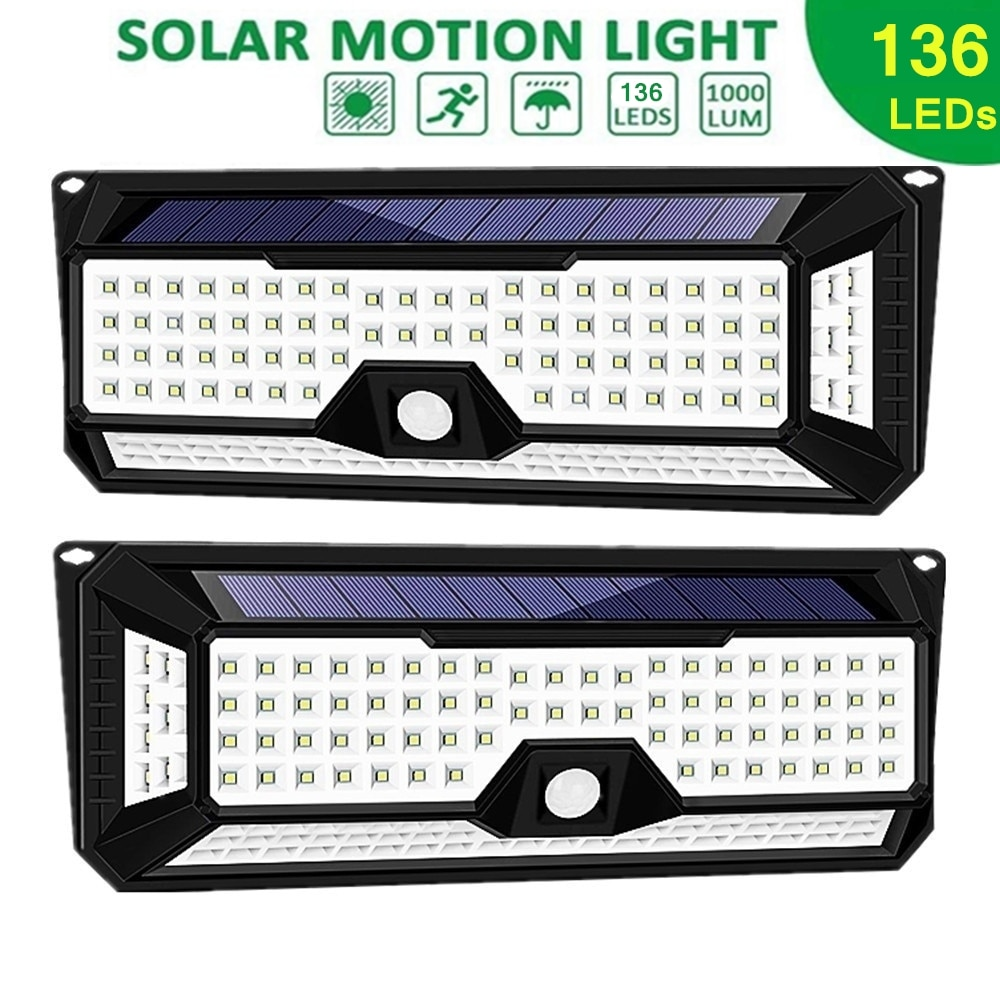 Solar Outdoor Wall Lights Motion Sensor Detector Security Night Lights IP65 Waterproof Wall Lamps for Garden Deck Yard Driveway