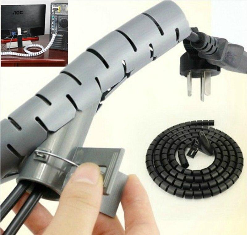 1 mètre Flexible spirale câble Zip câble enroulé range-câbles organisateur fil cordon gestion protecteur stockage tuyau câble enrouleur