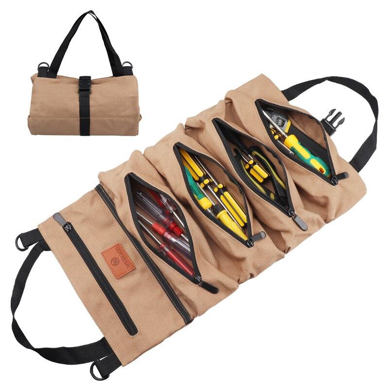 Wessleco-حقيبة تخزين ملفوفة بمفتاح ، أداة قماشية متعددة الأغراض ، منظم رول أب