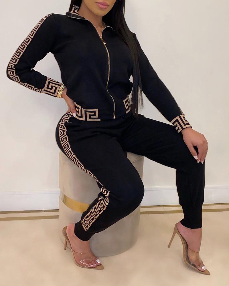 2020 Tracksuits Women Elegant Two-Pieces Suit Sets Female Stylish Plus Size Greek Fret Print Coat & Pant Zip Sets Joggers Women