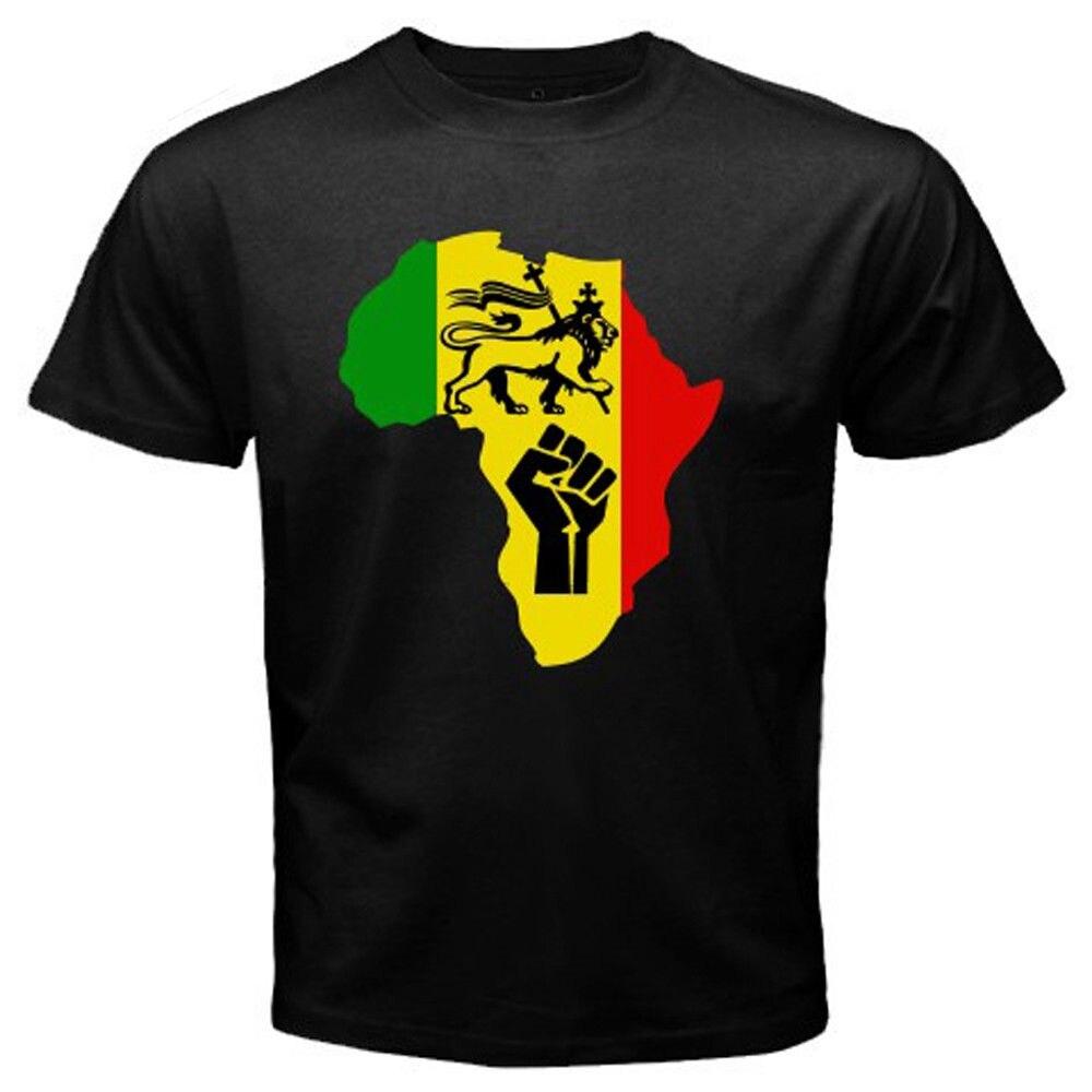 Novedad, camiseta negra con Logo de música de Rasta Reggae Power de África para hombre, camiseta Cool Pride para hombre, nueva camiseta informal Unisex de moda