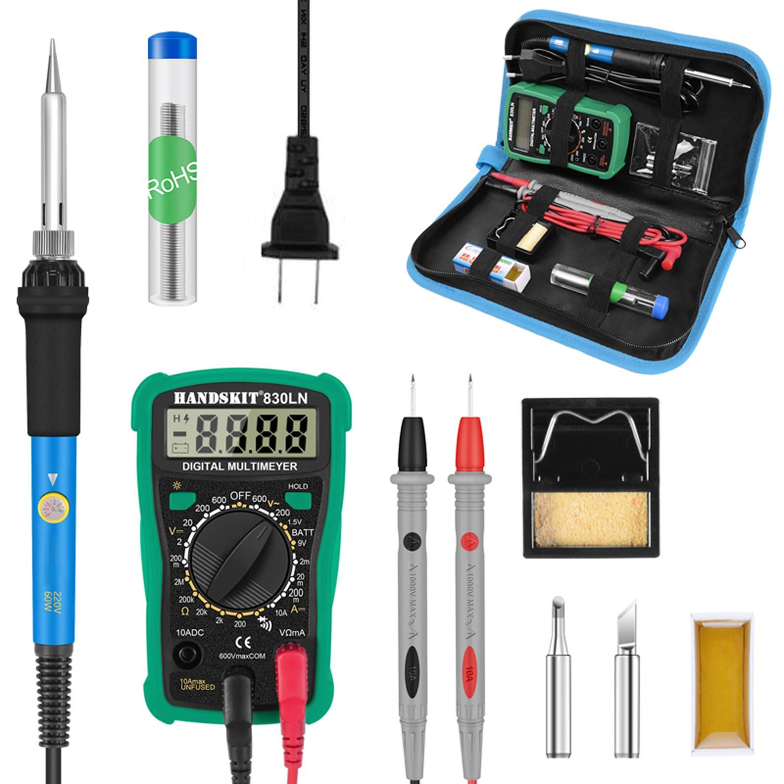 110v 220v handskit 60w ferro de solda digital kit temperatura elétrica ferro de solda multímetro desoldeirng bomba ferramenta de solda
