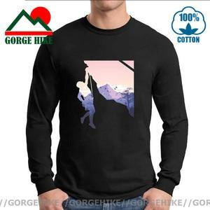 New Men Climber T Shirt Casual Cotton Rock Climb Long Sleeve Funny T-Shirt Mountain Hiking Tshirt MTB Adventure Hipster Clothing