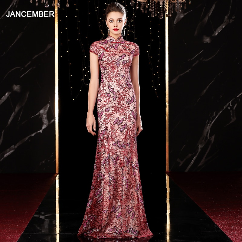 J20113 jancember elegante vestido de noche largo 2020 ilusión de cuello alto apliques de manga corta rosa vestidos de fiesta de niña de las bolitas