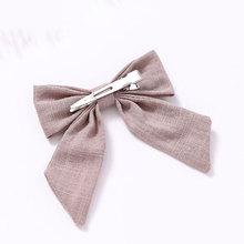 1PC coton lin couleur unie longue queue nœud pinces à cheveux Barrettes épingles à cheveux poignées filles femmes mignon doux cheveux accessoires chapeaux