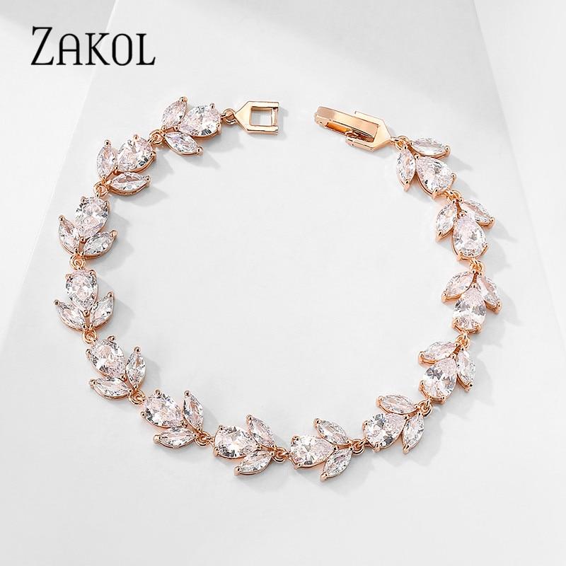 ZAKOL Trendy Braut Schmuck Weiße Farbe Blatt Charme Zirkonia Armband & Armreifen Klar CZ Kristall Armreifen Für Frauen FSBP2178