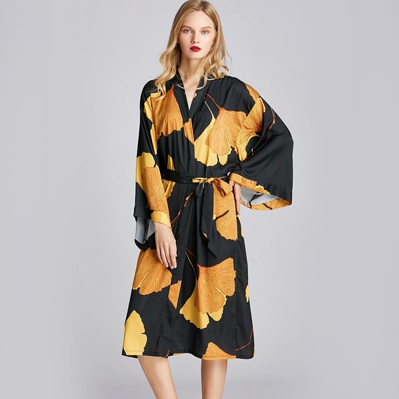 Verano Mujer Kimino Sleep Robe mancha alta calidad suave elegante dama de honor ropa de dormir bata otoño Homewear cuerdas