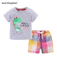 mudkingdom summer plaid short set for boys beach holiday outfits dinosaur cars cute t shirt and drawstring kids clothes suit