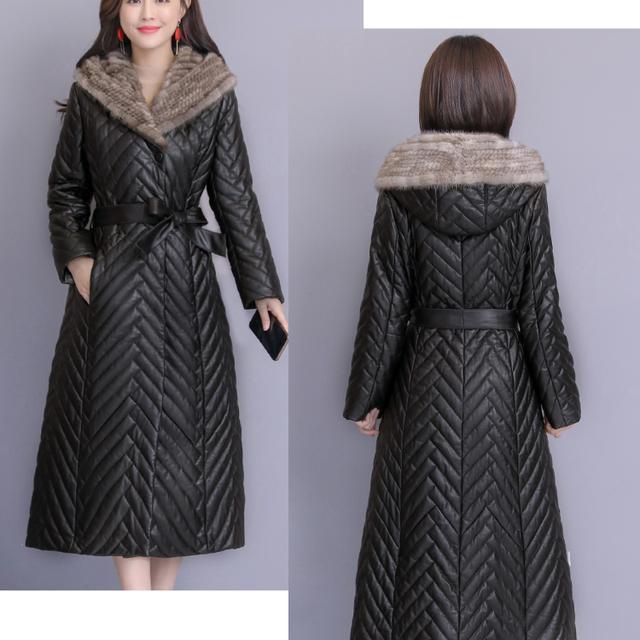 Women's tuhao leather coat down cotton suit Korean long winter net red new plush fur one women's coat enlarge
