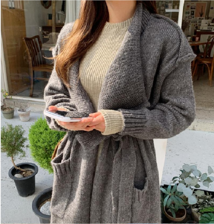 2021женские свитера Autumn And Winter Woman Sweaters  Sweater Casual Oversized Women Long Knitted Cardigans кофта женская enlarge