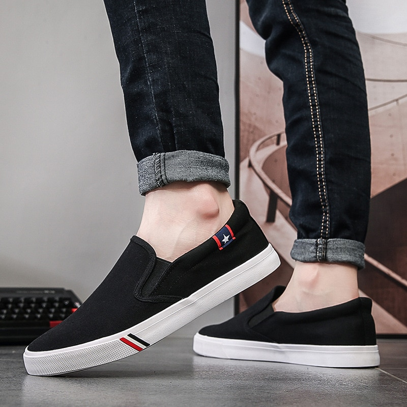 2021 Spring and Autumn New Men's Shoes, Extra-large Canvas Shoes, One-pedal Loafers, Korean Style Trendy Students' Wild Shoes