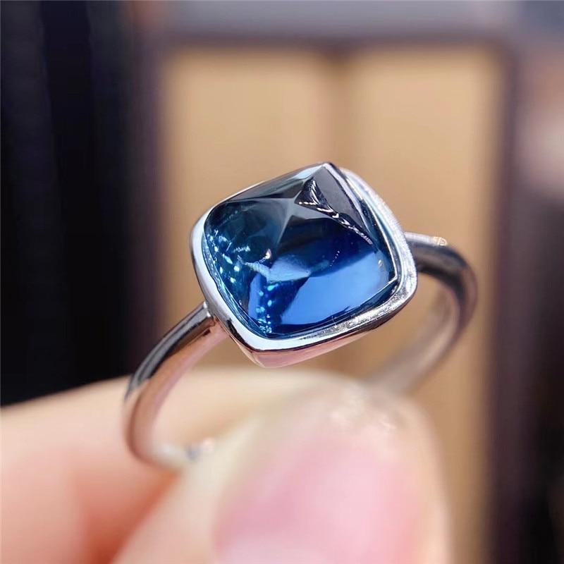 لندن الأزرق توباز خاتم 8 مللي متر مربع برج السكر الأحجار الكريمة الطبيعية غرامة مجوهرات للنساء هدية للذكرى السنوية ريال 925 فضة