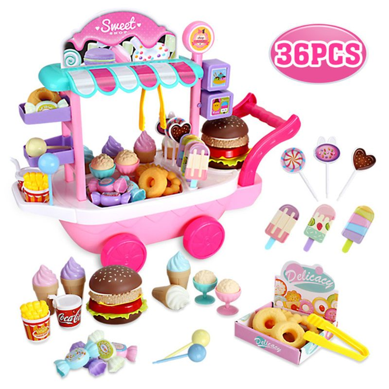 20 33 38cm simulation mini trolley girl candy car ice cream shop supermarket children play toy ice cream cart Mini Ice Cream Candy Trolley House Play Educational Toy Cart House Game Kids Toy A2UB