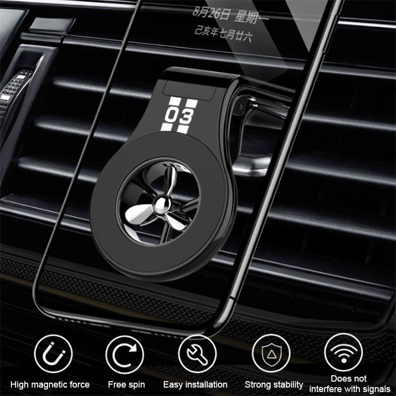 Soporte magnético de teléfono de coche para salida de aire, decoración de coche con pequeña hélice de aromaterapia, soporte para teléfono móvil
