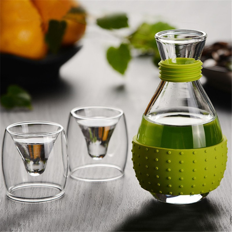 Japan Sake Glass 1Wine Pot 2 Glass Cups Liquor Wine Set Vodka Hip Flask Bottle White Wine Spirit Pot Crystal Drinkware Home Bar