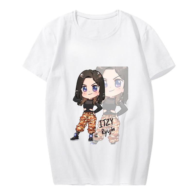 Kpop ITZY YUNA RYUJIN CHAERYEONG LIA YEJI álbum fotos Hip Hop camisetas camiseta manga corta Camisetas PT1075
