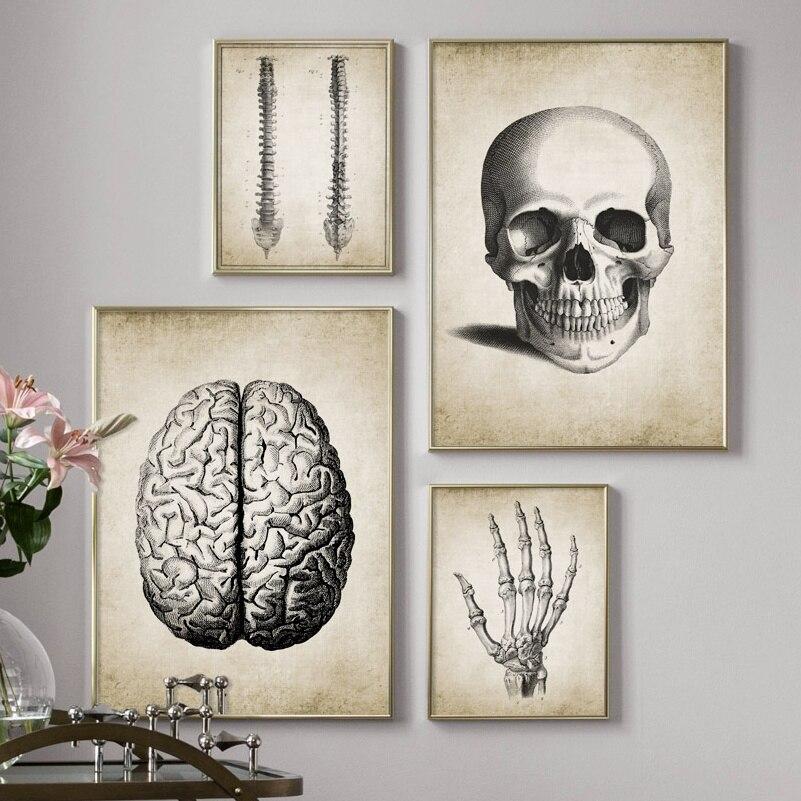 El esqueleto del dedo humanos poster de anatomía Vintage cuadro sobre lienzo para pared carteles nórdicos y huellas de pared para SALA DE