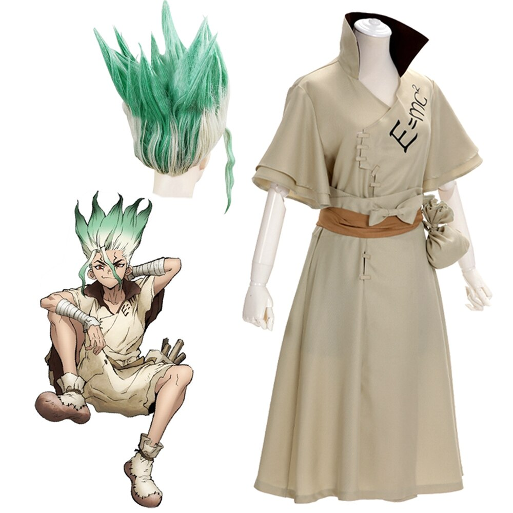 Anime dr. pedra senku ishigami traje cosplay adulto homens senku uniforme peruca traje de festa carnaval dia das bruxas terno conjunto completo
