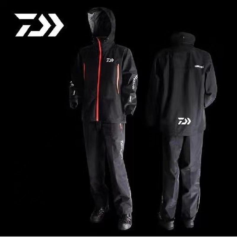 2021 Autumn Winter Daiwa Fishing Clothing Set Single Layer Windproof Waterproof Fishing Jacket Pants Men Rain Coat