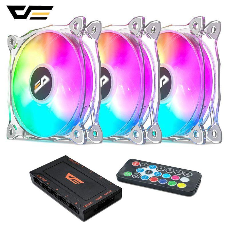 DarkFlash CF8 Pro PC ventilador con cubierta 120mm RGB LED ventilador de refrigeración de la CPU 5V/3Pin tranquilo + AURA SYNC computadora CPU PC ventilador con cubierta