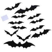 12 pieces ensemble plus recent 3D noir PVC chauve-souris bricolage decor autocollant mural maison deco Halloween fete barre decalcomanies