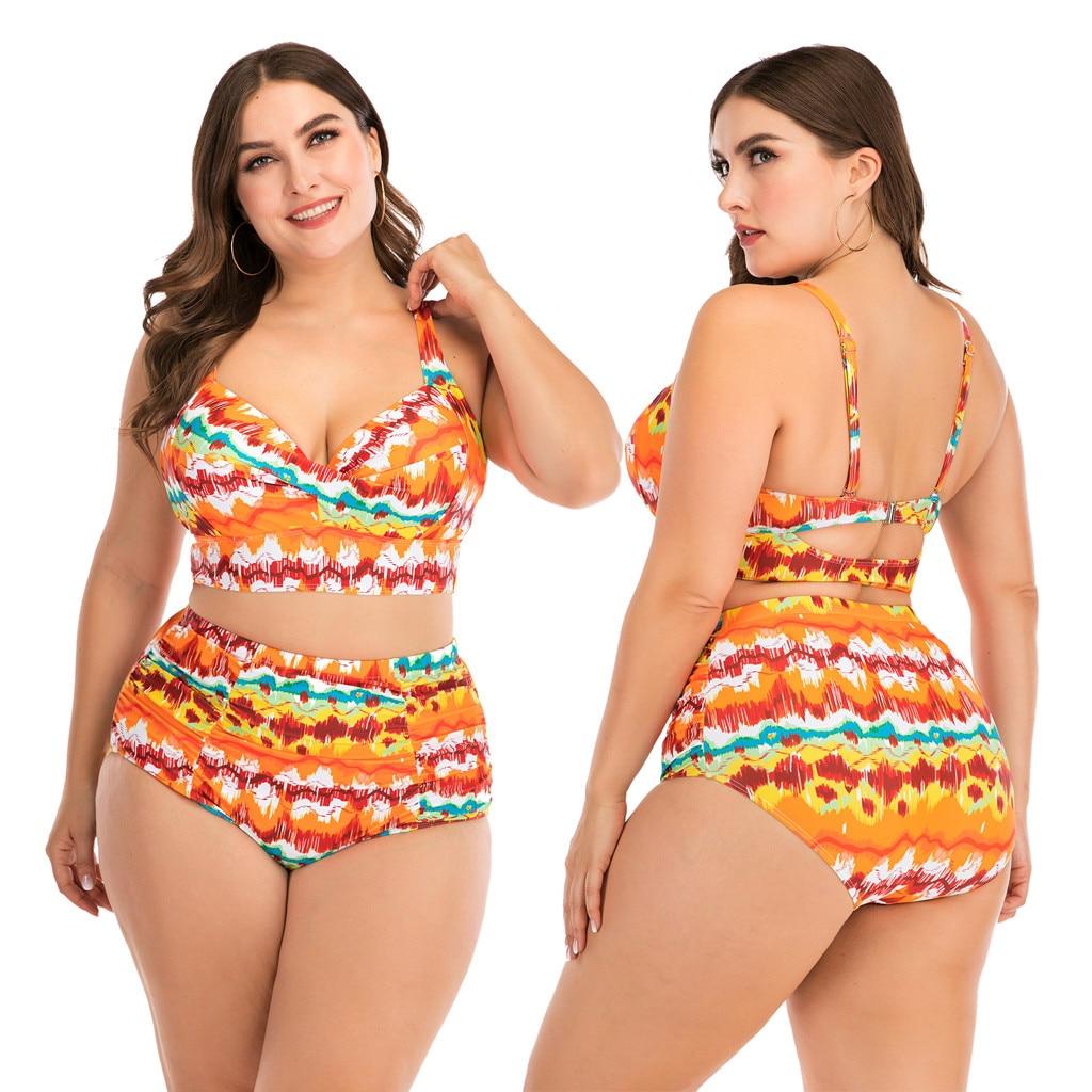 Women Plus Size Bandage Printing Padded Bra Bikini Split Body Swimsuit Beachwear  larges big size solid swim swimming wear bathi