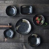 2pcs japanese style retro ceramic seasoning dipping dish snack vinegar soy sauce hot pot sauce dish tableware