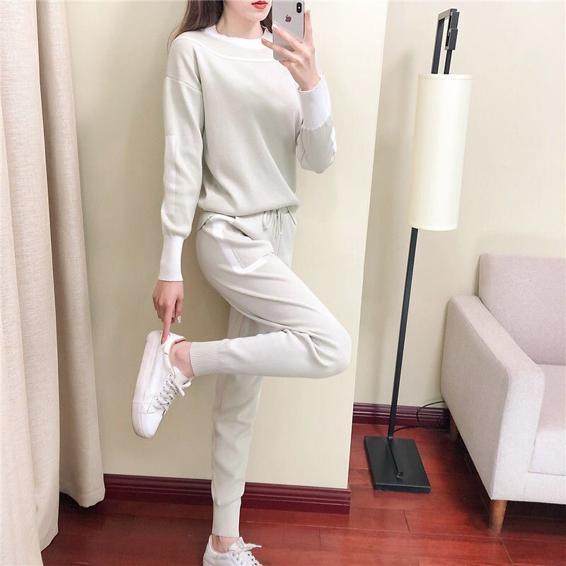 Fashion Brand Women's Knitted Suit Spring and Autumn Good Quality Casual Fashion Sports Two-piece Suit  - buy with discount