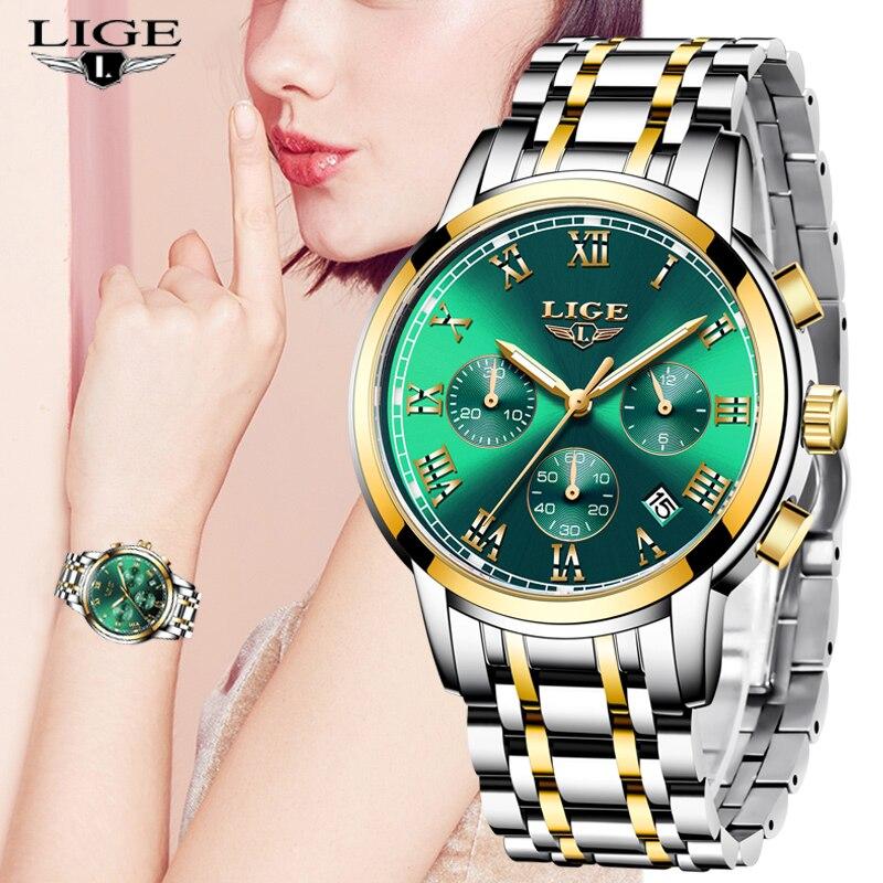 LIGE Brand Luxury Woman Watches Elegant Female Wristwatch Japan Movt Waterproof Ladies Watch Steel Strap Sport Quartz Clock Gift