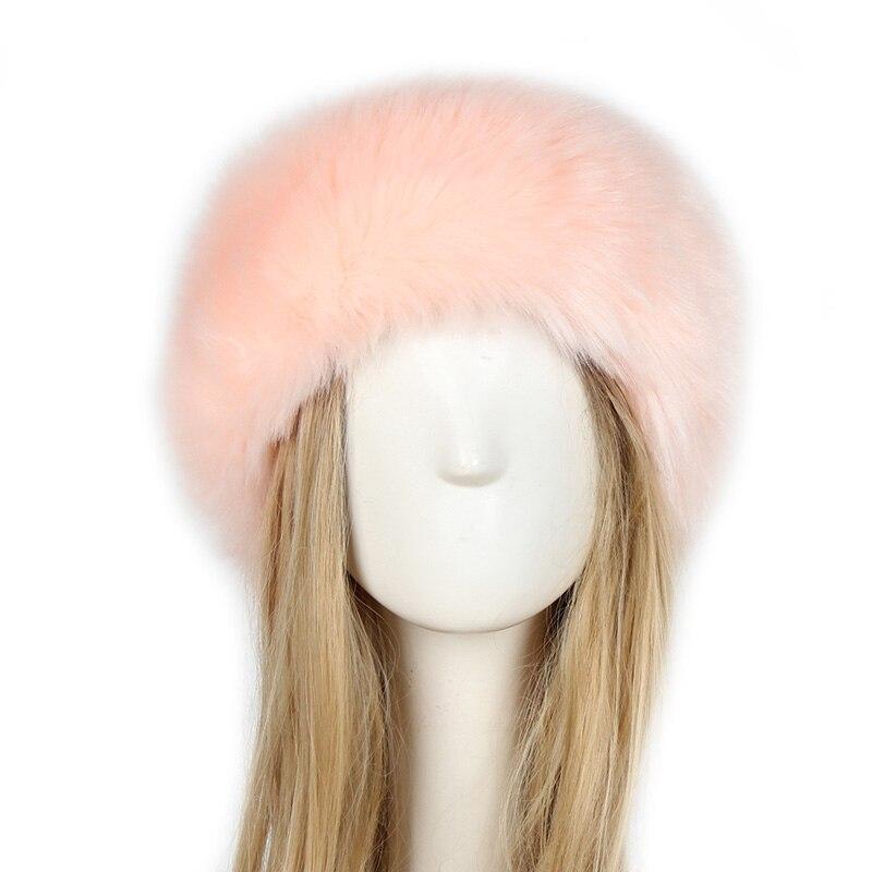 Winter Headband Men Women Hats Fox Fur Russian Furry Hairband Fluffy Bomber Berets Hats Earmuffs Elastic Turban Ski Cap