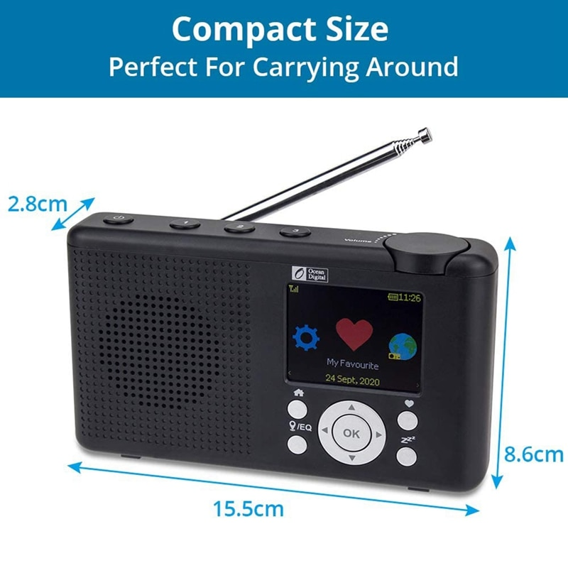 WR-23F Radio Internet Portable 2,4 inch Couleur LCD Rechargeable Batterie Wi-FI Bluetooth UPnP & DLNA Player Sleep enlarge