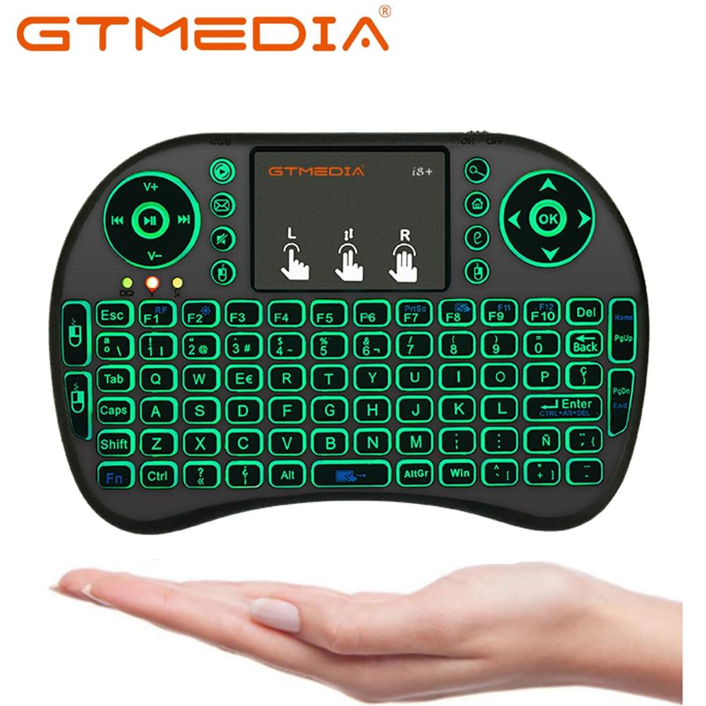 I8 En/ Ru/Es/Fr Беспроводная мини-клавиатура USB Air Mouse с подсветкой сенсорная панель для Smart Android TV Box Play Game pc AAA Battery