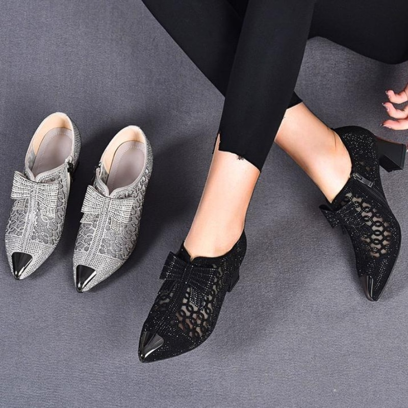2021 Autumn Women Naked Boots,Sexy Hollow out Rhinestone Mesh Shoes,Fashion Summer Heels,Pointed toe