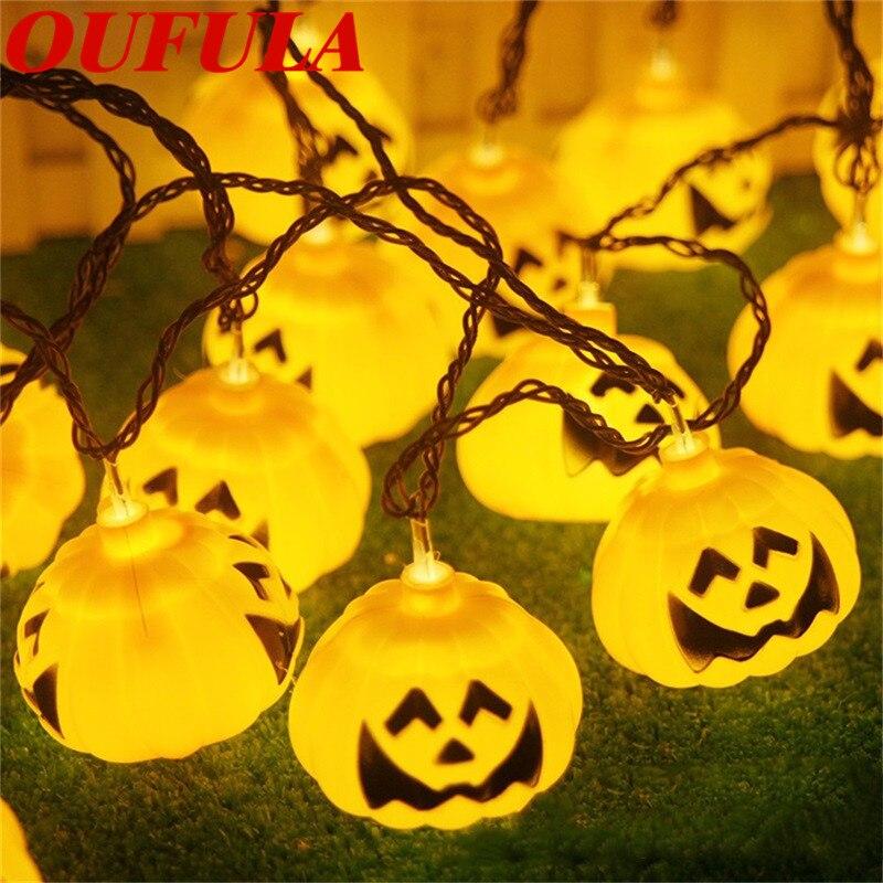 Linterna de calabaza para Halloween OUFULA, impermeable, para exteriores, LED amarillo, guirnalda de luces