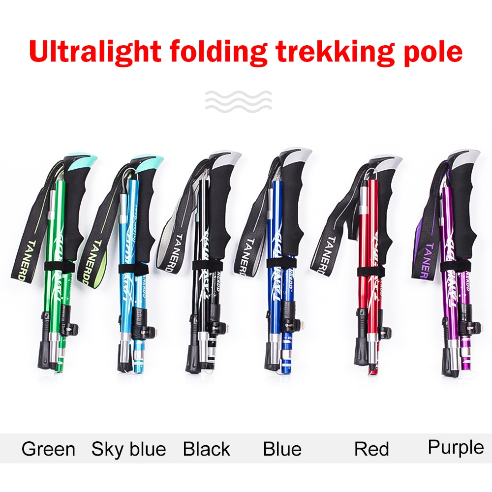 Ultralight Aluminum Alloy 5Sections Walking Poles Adjustable Trekking Poles Telescopic  Walking Sticks Anti Shock Hiking Stick fluorescent trekking poles walking hiking poles adjustable mountain camping supplies outdoor defense walking sticks portable