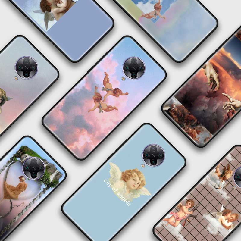 Ángel Bebé Cupido negro Tpu Capa para Xiaomi Mi nota 10 9T Pro 5G Poco F2 X2 F1 CC9 9 SE A3 A2 Lite Fundas de casos