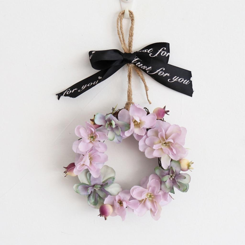 Mini Artificial Hydrangea Flower Wreath Door Spring For Front Wall Home Wedding