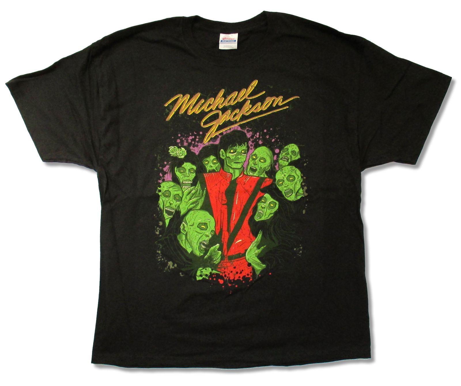 Michael jackson zombie crew thriller blk t camisa nova oficial jaqueta vermelha adulto 026297