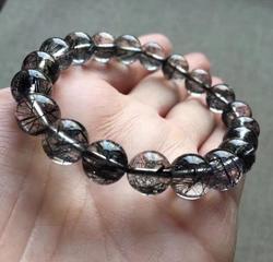 Jóias finas frete grátis natural preto rutilated cristal de quartzo contas pulseira aaa