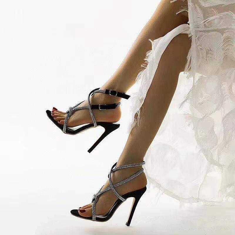 Scarpe moda donna 2021 estate nuovi prodotti sandali con strass punta aperta tacco alto da donna sandali di qualità alla moda da donna