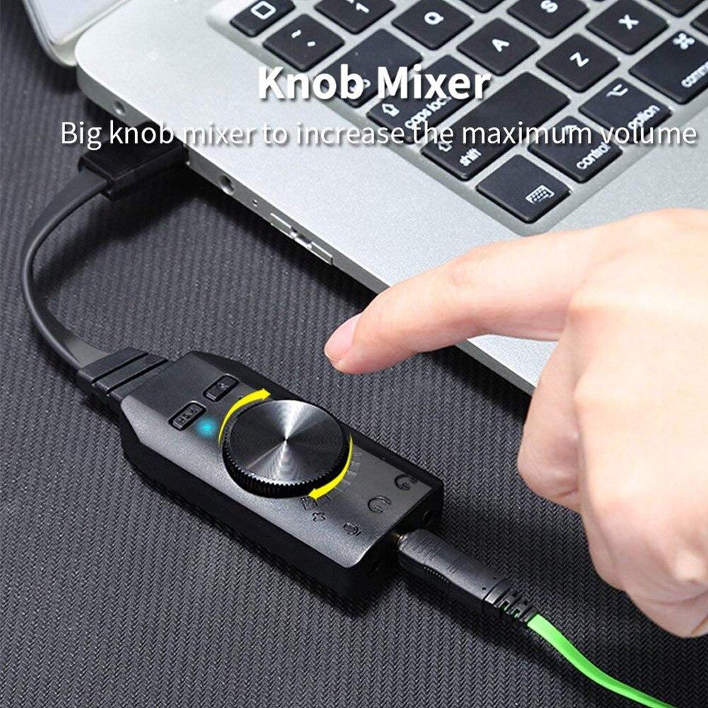 GS3 Виртуальная 7,1-канальная внешняя звуковая карта, адаптер USB-конвертер, черная стереогарнитура 3,5 мм, гарнитура для ПК, настольного компьют...