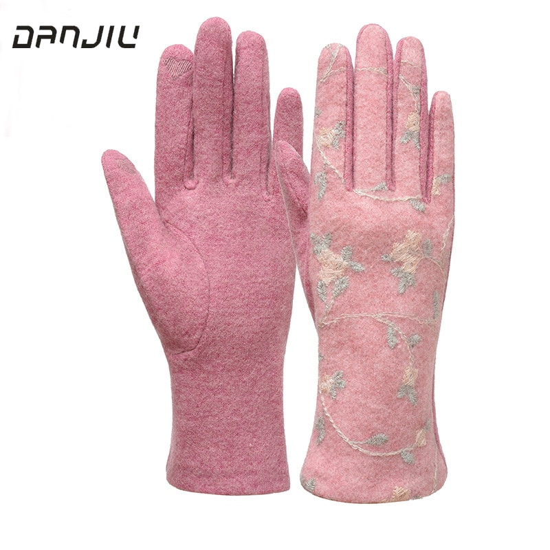 Women Winter Thin Section Keep Warm Touch Screen Gloves Embroidery Flower Cashmere Blend Female Eleg