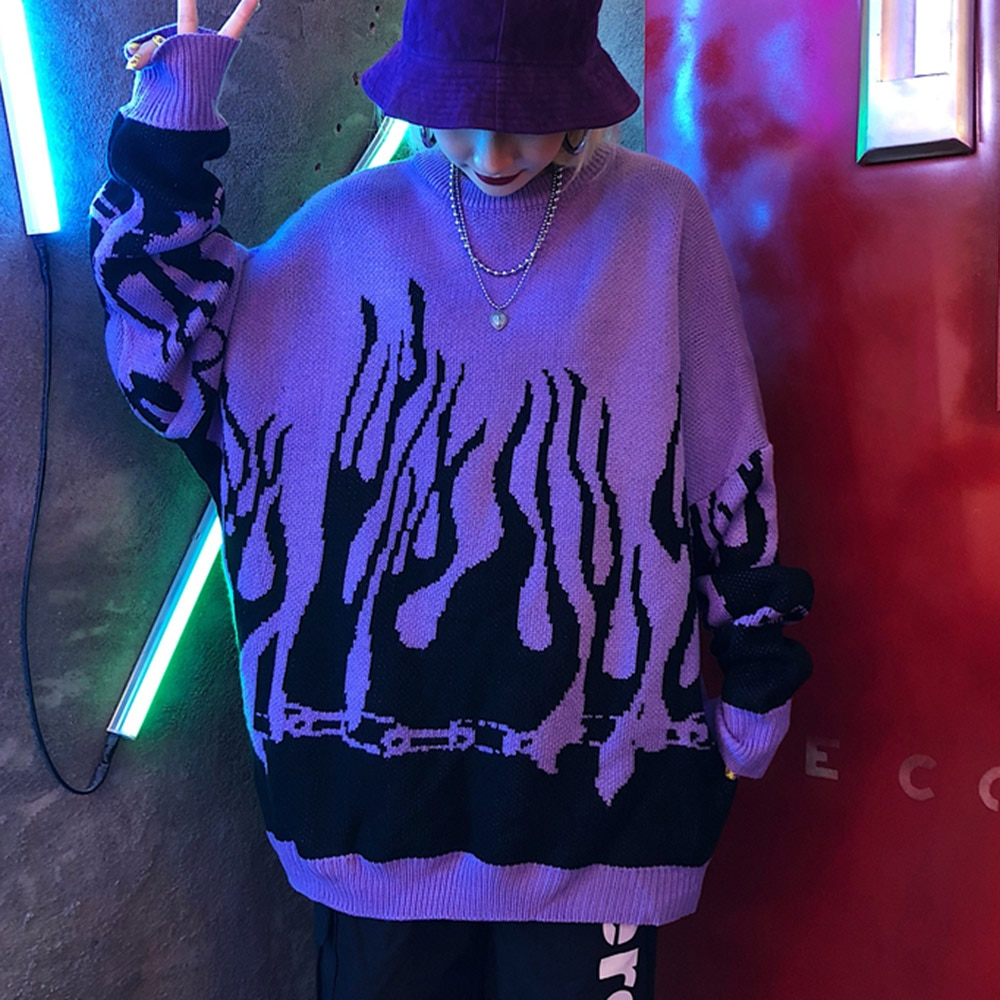 Flame Printed Knitted Sweater Women Mulheres Pullover Winter Harajuku Gothic Plus Size Couple Tops Loose Purple Red 2021 Autumn